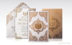 Laser Cut Lace inspired Wedding Invitation on Behance