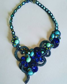 Collana in #soutache #sütaş #soutachemania #jewelrydesigner #jewelry #joielle #collanastupenda #collana  #blueturchese