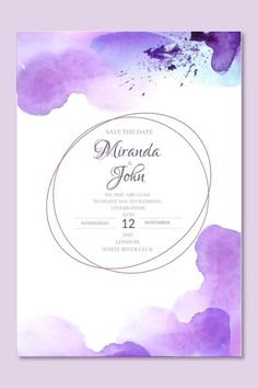 Watercolor Wedding Invitations, Wedding Invitation Templates, 12 November, Abstract Watercolor, Celebrity Weddings, Vector Free, Infographic, Graphic Design, Crochet