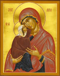St Anna & the Theotokos, English Orthography Byzantine Icons, Byzantine Art, Religious Icons, Religious Art, Roman Church, Religion Catolica, Religious Paintings, Santa Ana, Biblical Art