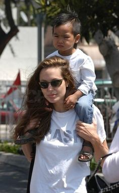 Angelina Jolie gave Maddox a lift in Santa Monica, April 2004