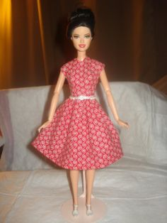 Red and white swirl modest dress for Barbie by KelleysKreationsLV, $6.75