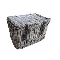 Grey & Buff Rattan Storage Trunk with Straps and Buckles. Ideal wicker chest to store blankets, toys, shoes, etc. Indoor Wicker Furniture, Wicker Couch, Wicker Headboard, Wicker Bedroom, Wicker Chairs, Rattan, Wicker Man, Wicker Storage Trunk, Wicker Trunk