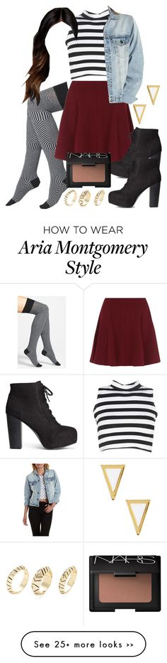 """""""Aria Montgomery inspired outfit with requested socks"""" by liarsstyle on… Grunge Look, Grunge Style, 90s Grunge, Soft Grunge, Edgy Style, Grunge Girl, Pll Outfits, Grunge Outfits, Polyvore Outfits"""