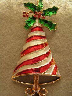 Vintage MYLU Peppermint Christmas Tree Brooch Pin Rhinestones | eBay