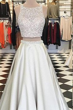 Cute satin sequins prom dress, two piece dress, prom dresses for teens