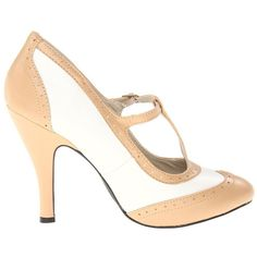 Nude & White Perforated Hannon T-Strap Mary Jane Heels ($49) ❤ liked on Polyvore featuring shoes, pumps, heels, white mary janes, mary jane shoes, white pumps, high heel pumps and high heel shoes