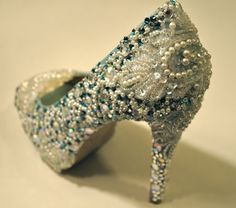 Bridal Wedding Heels Shoes  Teal Blue Swarovski by TaraMiSioux, $568.00