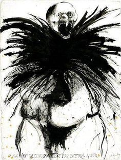 Leonard Baskin, black and white print, abstract, eerie. Strange ink blot style piece of art with beaked man shouting.