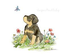 Rottweiler Art Print Watercolor Rottweiler Print by JasperAndRuby Puppy Mix, New Puppy, Puppy Nursery, Nursery Art, Rottweiler Dog For Sale, German Dog Breeds, Canvas Artwork, Cute Puppies, Art Prints