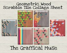 Geometric Wood Retro Digital Scrabble Tile Collage Sheet, Instant Download for Altered Art, Pendants, & Mixed Media 30 Images