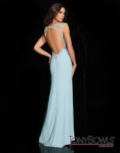 Cap sleeve Jovani floor length mermaid gown with a sheer illusion ...