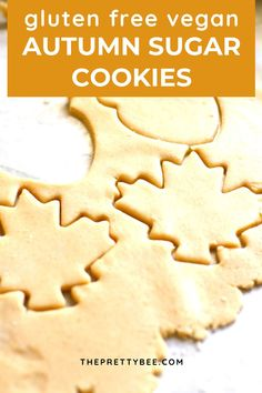 Perfect texture, sweet, and delicious, these autumn sugar cookie cutouts are the perfect fall dessert. This easy cookie recipe is gluten free and vegan, too! #vegan #glutenfree #cutout #sugarcookies