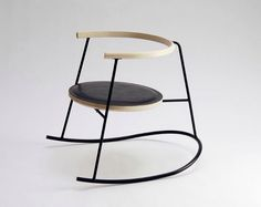 In a three-legged rocking chair design called Nobu, Danish furniture designer Rasmus Warberg uses a curved foot to create stability. The bent steel frame is Cool Furniture, Modern Furniture, Furniture Design, Danish Furniture, Scandinavian Furniture, Love Chair, Rocking Chair, Table Design, Chair Design