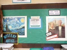 elementary art classroom management art room set-up displays mystery artist game bulletin board famous artist art history
