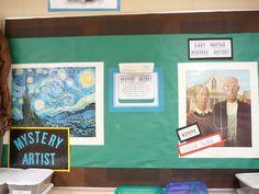elementary art classroom management art room set-up displays mystery artist game bulletin board famous artist art history