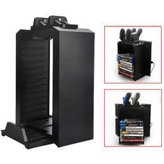 Amazon.com: SKmoon Multifunctional Alloy Game Disk Storage Tower Holder with DualShock Controller Charging Station and Console Stand for PS4: Video Games