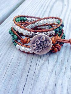 Bohemian earthy triple wrap leather bracelet