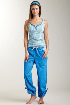 Astrology Knit Henley Tank & Poplin Tabbed Pant Set by Munki Munki on @HauteLook