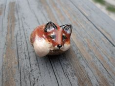 Hand Sculpted  Miniature Red Fox animal  totem by ADragonflysFancy