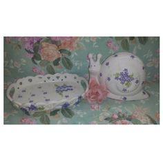 Vintage SNAIL Piggy Bank, Matching Vanity Tray, Purple, Violet,Flowers, Trinket Tray, Childrens Room Decor,  Purple Decor, Piggy Bank by JunkYardBlonde on Etsy