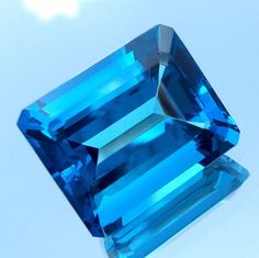 24.6 Carat Natural AAAA Emerald Cut Swiss Touch London Blue Topaz 17.5x14.3 MM #GemstonePioneer