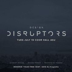 Join us for an exclusive screening of the InVision-produced documentary DESIGN DISRUPTORS brought to you by Trusona.  DESIGN DISRUPTORS reveals a never-before-seen perspective on the design approaches of 15 industry-shaking companies and how theyre using the power of design to disrupt billion dollar industries.  Grab a drink some movie treats and be first to see the film.  Our future is designed.  About the film:  DESIGN DISRUPTORS is a full-length documentary featuring design leaders and…