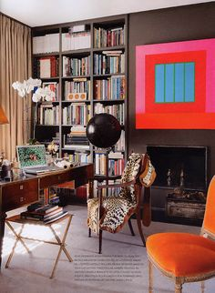 Great contrasting accents, Stylish home office, Bright accessories. Fun design.