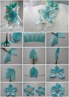 DIY Satin Ribbon Flower Hairband #Crafts, #Sew, #Accessory