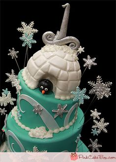 #Winter #Wonderland First #Birthday #Cake