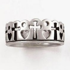Sterling Silver Ladies' Cross Ring - Pierced Crown w/Hearts - Christian Rings for $55.00   C28.com