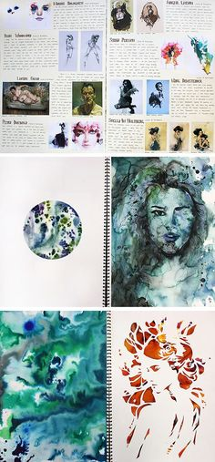 A Level Art sketchbook pages by Lisa Jiang