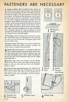 Fasteners & Buttons are Necessary, 1939 Sewing Secrets | Flickr - Photo Sharing!
