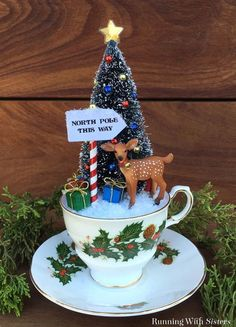 holiday funny Make Teacup Christmas Scene with a bottlebrush tree and little reindeer. Well show you how to make the North Pole sign and put it all together. Vintage Christmas Crafts, Noel Christmas, Retro Christmas, Homemade Christmas, Christmas Projects, Holiday Crafts, Christmas Gifts, Christmas Ornaments, Christmas Candles
