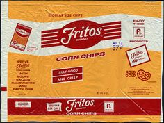 Frito-Lay - Fritos Brand Corn Chips 6-Ounce snack bag - 1970's by JasonLiebig, via Flickr