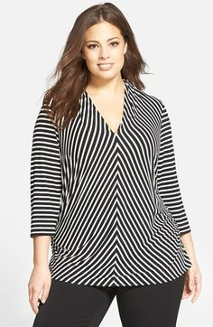 Vince Camuto Vince Camuto 'Astor Stripe' Pleated V-Neck Top (Plus Size) available at Plus Size Maxi, Plus Size Blouses, Plus Size Outfits, Blouse Styles, Blouse Designs, Moda Xl, All Black Outfit, Blouse And Skirt, Casual Tops For Women