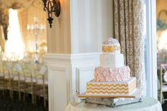 15 Wedding Cakes That Are (Almost) Too Pretty To Eat; This unique cake by Carlo's Bakery. Patricia Doles Photography; From Meredith and John's Real Wedding.