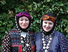 Traditional festive costume from the Hemşin district (Rize province).  Clothing style: rural, mid-20th century.  The typical headgear is still worn to-day (early 21th century).