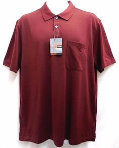 Van Heusen Traveler Luxe Touch Short Sleeved Polo Golf Shirt L Burgundy NEW #VanHeusen #PoloShirt