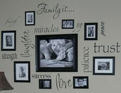 Collecting ideas for a wall of quotes. variety  Love this!!!