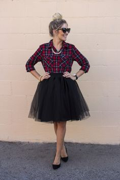 Red/black plaid flannel + a lot of pearls + a messy bun -- this is my favorite!                                                                                                                                                                                 More