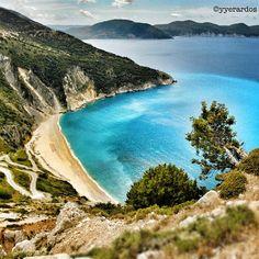 Mythos Beach, island of Argostoli, Greece - billed as the most photographed beach.