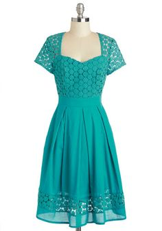 Youve put your favorite poem to memory for this afternoons event so all thats left is finding the perfect dress. For a poised poetic performance dress up in this retro-inspired turquoise A-line! Crafted from 100% cotton and featuring a lyrical crocheted bodice layer this modest feminine midi emphasizes your already-graceful demeanor.