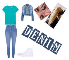 """""""#Denim"""" by queen-sanja on Polyvore featuring 7 For All Mankind, LOFT, River Island and Converse"""