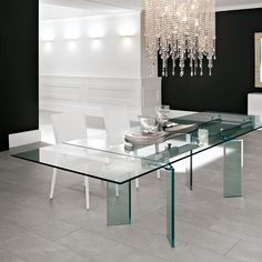 Steel table and crystal transparent mod. Delta, Cattelan. // Mesa de acero y cristal transparente mod. Delta, Cattelan. // Tavolo in acciaio e cristallo trasparente mod. Delta, Cattelan. #table #mesa #tavolo #steel #acero #acciaio #crystal #cristal #cristallo #cattelan
