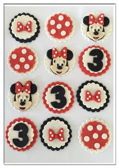 Set of 12 Minnie Mouse Cupcake Toppers by SugaryLand on Etsy