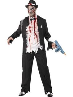 Zombie Gangster Costume Who said Al Capone was dead? Hell was full so he was sent back to terrorise the living. No one will mess with you when they see you in this Gangster Costume. Braut Halloween, Zombie Halloween Costumes, Halloween Dance, Joker Costume, Scary Costumes, Halloween Fancy Dress, Halloween Outfits, Scary Halloween, Adult Costumes