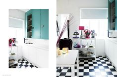 我們看到了。我們是生活@家。: 明亮的廚房,黑白的地板,這是冰島的廚房