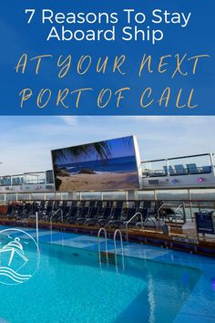 If you are planning your next cruise vacation check out our 7 reasons to stay aboard ship at one of your ports of call. Find out why it sometimes pays to stay onboard the ship. No matter which cruise line (Disney, Royal Caribbean, Princess, etc.) you are on these tips will show you that staying aboard can be rewarding too. From catching up on some R & R, no wait at the bars & restaurants, to hitting the gym, and so much more. These tips are sure to help you have a low-key day when cruising. Packing List For Cruise, Cruise Tips, Cruise Travel, Cruise Vacation, Bermuda Vacations, Bahamas Vacation, Msc Cruises, Cheap Cruises, Cruise Excursions