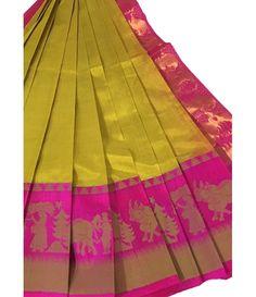 Pastel Cotton Silk Kuppadam Handloom Saree